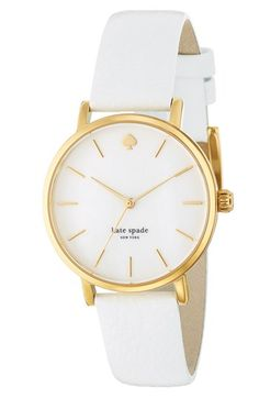 kate spade new york 'metro' round leather strap watch, 34mm $195.00