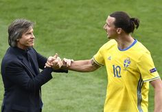 Italy's coach Antonio Conte (L) shakes hands with Sweden's forward Zlatan Ibrahimovic after the Euro 2016 group E football match between Italy and Sweden at the Stadium Municipal in Toulouse on June 17, 2016. .Italy won the match 1-0. / AFP / Pascal PAVANI