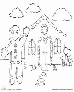 Christmas First Grade Holiday Worksheets: Color the Jolly Gingerbread Man