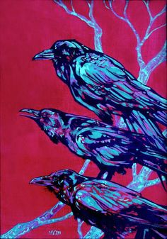 Raven Painting by Derrick Higgins Crow Art, Raven Art, Bird Art, Raven And Wolf, Crow Painting, Crows Ravens, Rabe, Animal Paintings, Acrylic Paintings