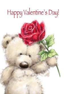 Cute Bear with Big Red Rose, Happy Mother's Day card. Personalize any greeting card for no additional cost! Cards are shipped the Next Business Day. Happy Mother's Day Card, Happy Valentines Day Card, Happy Mothers Day, Thank You Greetings, Thank You Cards, Happy Birthday To Niece, Image Elephant, Teddy Bear Pictures, Tatty Teddy