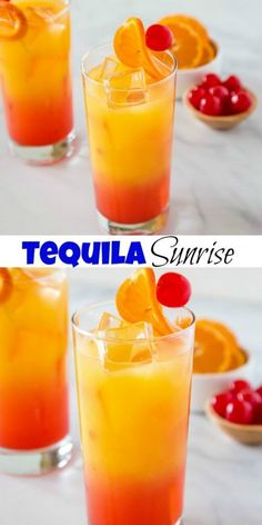 Tequila Sunrise Recipe - Dinners, Dishes, and Desserts Tequila Sunrise Recipe - A cool and refreshing cocktail with orange juice, grenadine and tequila. Perfect for all of your get togethers! Mezcal Cocktails, Tequila Drinks, Refreshing Cocktails, Bar Drinks, Summer Drinks, Cocktail Drinks, Orange Juice Cocktails, Cocktail Recipes Grenadine, Mixed Drinks With Tequila