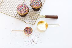 """Delicious sprinkled cupcakes from Jeff Martin's Smallcakes   VIE Magazine: Culinary & Couture Issue March/April 2017   """"Small Cakes, Big Dreams""""   Story by Audrey Johnson and Photos by Alissa Aryn Photography"""