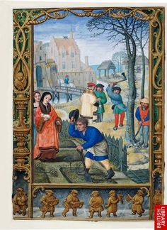 March, The Golf Book of Hours, Illuminated by Simon Bening (Bruges), ca. 1540