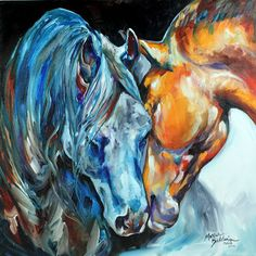 Abstract Art Gallery: ABSTRACT EQUINE ART ORIGINAL OIL PAINTING 2 HORSES ARTIST MARCIA BALDWIN