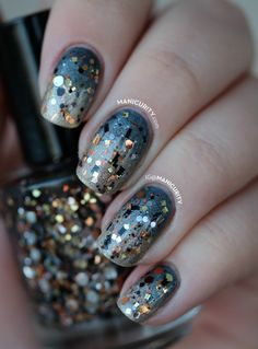 Gradient Nails With Silver and Gold Glitter