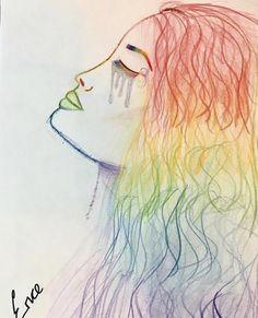 Drawing, pride, rainbow, tears