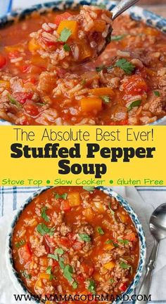 Stuffed Pepper Soup is the best recipe out for an easy, healthy, flavorful, one pot comfort food. Slow cooker directions included as well. easy slowcooker healthy best stuffedpepper glutenfree via 729020258412417127 Crock Pot Recipes, Easy Soup Recipes, Slow Cooker Recipes, Cooking Recipes, Healthy Recipes, Easy Healthy Crockpot Meals, Healthy Food, Easy Crockpot Soup, Rice Recipes For Dinner