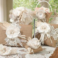 Burlap and Lace Wedding Accessories Set
