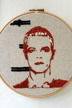 David Bowie mugshot embroidery by Bridgeen Gillespie