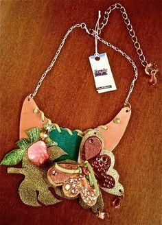 Collana Necklace Donna In Pelle Realizzata A Mano Swamp