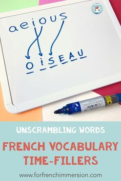 French Vocabulary Time-fillers: fill those unplanned free minutes with meaningful activities! Check out this list with time-fillers to get your French students practicing vocabulary! French Language Lessons, Spanish Language Learning, French Lessons, Spanish Lessons, French Teaching Resources, Teaching Time, Teaching French, Teaching Spanish, Teaching Reading