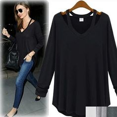 """This super comfy top comes in 4 colors and it features cut-out straps that goes from the neckline to the back, and has an over-sized design. Wear it with a structured skirt or your favorite skinnies.Material:Cotton, SpandexSize (unit: in)Please review measurements below for best fit:SMALL:Length: 26"""",Bust :34.5"""",Shoulder: 14"""", Sleeves: 21""""MEDIUM:Length: 27"""",Bust :37"""",Shoulder: 14.5"""", Sleeves: 21.5""""LARGE: Length: ..."""