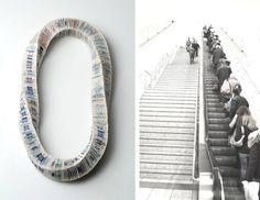 "Rallou Katsari - necklace ""Elli"", Material: Public transport tickets –"