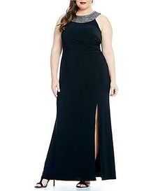 Vince Camuto Plus Detailed Halter Neck Sleeveless Gown