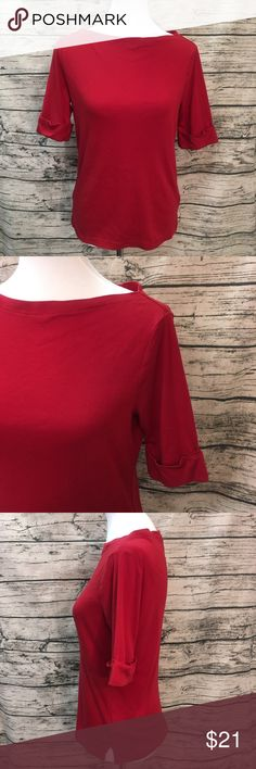Ralph Lauren Red Elbow Length Boat Neck Tee, Sz M Red Boat Neck Tee by Lauren Ralph Lauren. Each sleeve features a fold up cuff sewn in place. Wide Boat Neck collar shows off your collarbones. Soft thicker tee construction with a little stretch. This wears well with anything! I have another color, be sure to see my other listings! Lauren Ralph Lauren Tops Tees - Short Sleeve