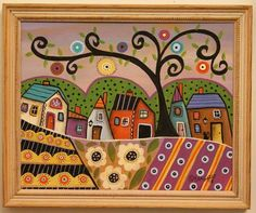 Lilac Sky FRAMED ORIGINAL Canvas Panel PAINTING cat FOLK ART 8 x 10 Karla Gerard #FolkArtAbstractPrimitive