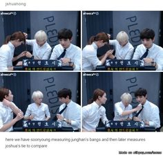 here we have soonyoung measuring junghan's bangs and then later measures joshua's tie to compare