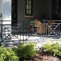 Porch and Patio Railings Porch Banister, Front Porch Railings, Patio Railing, Gates And Railings, Front Porch Design, Metal Railings, Porch And Balcony, Outdoor Balcony, Outdoor Decor