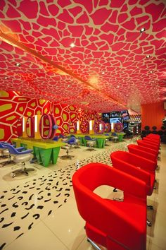 This room outfitted with ceiling graphics, floor graphics, and wall murals is an ultimate example of wide format print in interior design. -