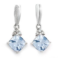 Jared - Color Stone Drop Earrings feature cushion-cut drops in Aquamarine with Diamond accents