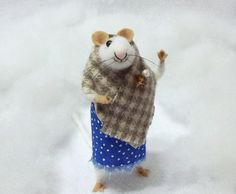 Bonnie Mae is A Needle Felted Mouse Wearing A by WildWoodHollow