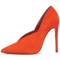 Eva Pump ❤ liked on Polyvore featuring shoes, pumps, orange suede shoes, suede leather shoes, pointed-toe pumps, orange suede pumps and orange pumps