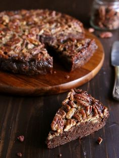 Fudgy brownies and rich pecan pie filling bake together into one decadent dessert. Brownie Recipes, Pie Recipes, Dessert Recipes, Cooking Recipes, Pecan Recipes, Dessert Ideas, Fall Recipes, Just Desserts, Delicious Desserts