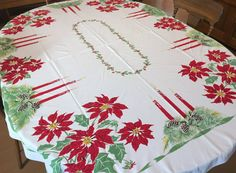 CHP Christmas Tablecloth, Vintage California Hand Prints Red Green Poinsettias, Printed Cotton, 60 x 82 rectangle