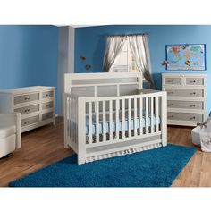 Pali Nursery Set - Cortina Forever Crib, Double Dresser and 5 Drawer Dresser in White/Grey