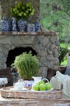 FRENCH COUNTRY COTTAGE: On the patio~ feeling blue