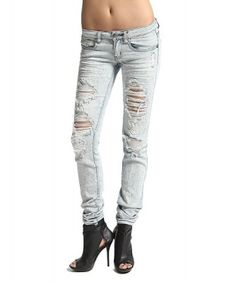 $40.00 Light Washed Destroyed Skinny Jeans Metallic Coated Bleached  #jeans #fashion