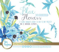 Watercolor Floral Wedding Elements, Clipart, PNG, Blue Flowers, Frames,  spring, Rustic, arrangement, posies, bouquet, for invitations