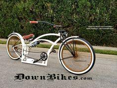 Beach cruiser custom stretch air ride suspension bicycle. www.facebook.com/downbikesfans