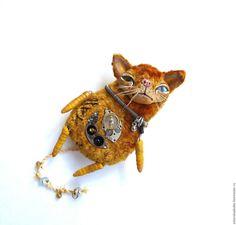 Купить Кот Рыжий. - оранжевый, кот, брошь, игрушка, ручная работа, авторская работа