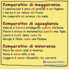 I comparativi  #learnitalian with www.impariamoitaliano.com  #learningitalian…
