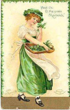 """"""" O The Shamrock Green """" Vintage 1909 Artist Ellen Clapsaddle Post Card. Karodens Vintage Post Cards."""