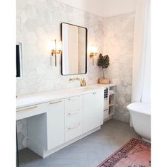 Modern Marble Glam Master Bath Designed by Olivia Carswell of Redo Home and Design.