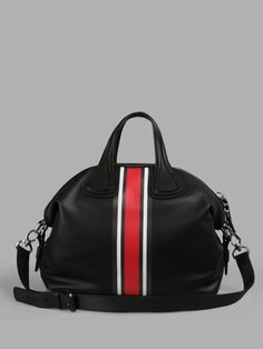 GIVENCHY BLACK STRIPE NIGHTINGALE SHOULDER BAG   - BLACK - TOP HANDLES - ZIP CLOSURE - RED/WHITE STRIPE - REMOVABLE AND ADJUSTABLE SHOULDER STRAP - 100% LEATHER - MADE IN ITALY