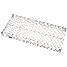 """Quantum Storage Systems 1848C Extra Shelf for 18"""" Deep Wire Shelves, Chrome Finish, 18"""" Width x 48"""" Length x 1"""" Height by Quantum Storage Systems. $39.99. Welded construction with additional wire trussing for high strength characteristics. Top mat wires run front to back for ease of loading and unloading. Wire allows air to circulate and light to penetrate for increased product visibility. Minimal dirt accumulation. Split conical sleeve adaptors secure shelf c..."""