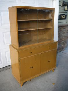 Mid Century Modern China Cabinet 2 Piece Buffet And Gl Door 295 00 Via Etsy