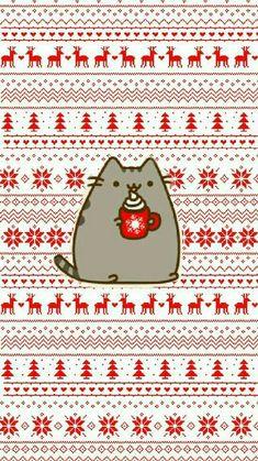 New Cats Wallpaper Iphone Pusheen 57 Ideas Cat Phone Wallpaper, Wallpaper Für Desktop, Christmas Phone Wallpaper, Holiday Wallpaper, Winter Wallpaper, Kawaii Wallpaper, Trendy Wallpaper, Iphone Wallpapers, Iphone Backgrounds