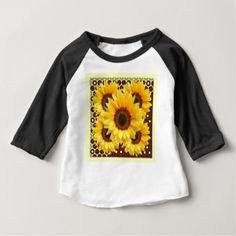 DECORATIVE DECO BROWN & YELLOW SUNFLOWER BABY T-Shirt - sunflowers sunflower gifts floral flowers cyo gift idea unique