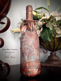 Copper and Patina Textured Polymer Clay Wine by LunaBlueGifts