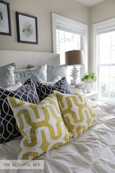 New bedroom pillows on the blog and a giveaway!