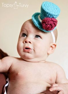 Don't be alarmed, our baby will have hats in the hat box too! Crochet Newborn Top Hat- boys and girls