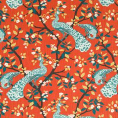 Teal Red Fabric for Furniture Upholstery Bird by PopDecorFabrics