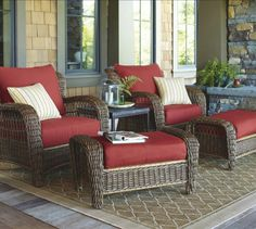 Comfy Outdoor Patio Furniture Cushions Wicker Chairs Front Porch