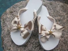 Flip Flops/Wedges for Bride,Bridesmaids Metallic Ribbon,REAL Starfish and Shells.Pearls. Beach Weddings.White Flip Flops.. $37.00, via Etsy.