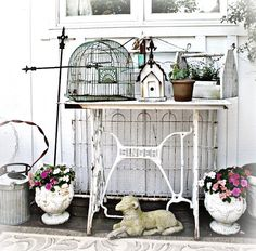sewing machine legs turned garden bench - charming
